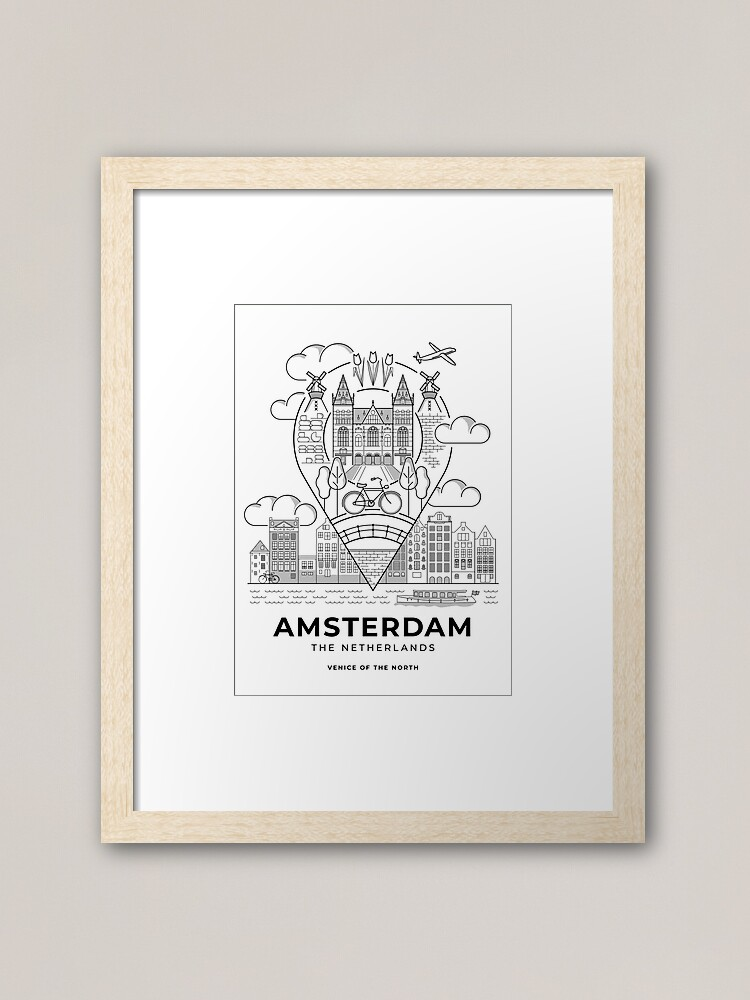 A framed art print featuring an illustrated Amsterdam travel poster.