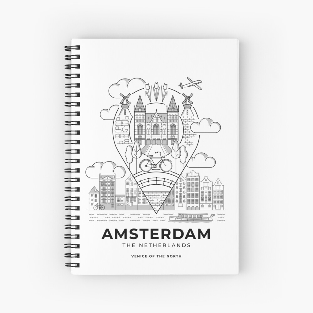 A spiral note book featuring an illustrated Amsterdam travel poster.