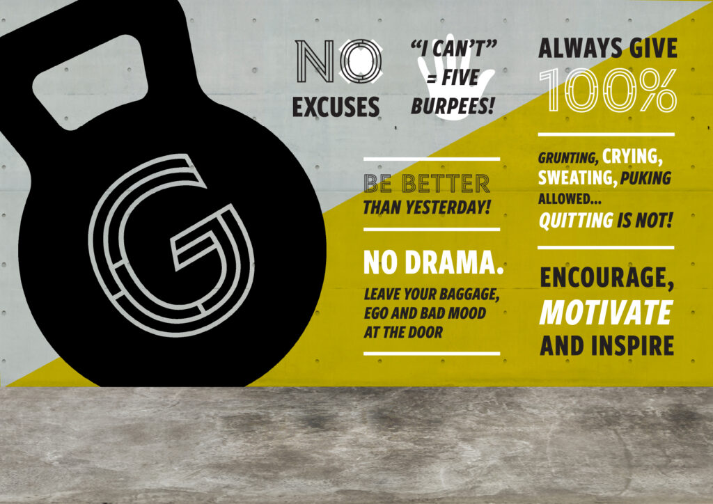 Photo mockup of a motivational mural design for Crossfit Galt