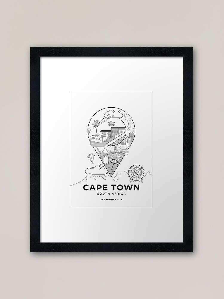 Photo of a framed art print featuring a vector-illustrated Cape Town travel poster.